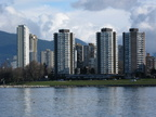 Downtown Vancouver west end from Kits Beach